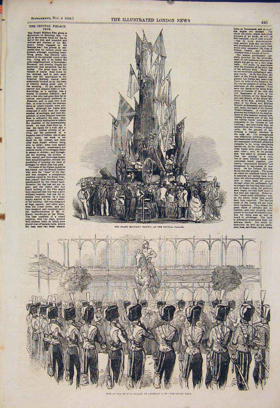 Print Crystal Palace Military Trophy Fete Guides London 1854 45Maa1 Old Original