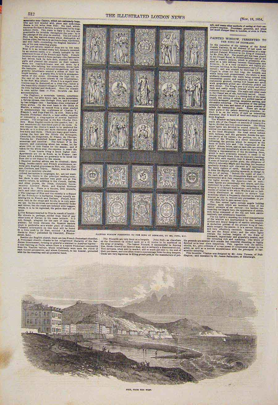 Print Window King Denmark Peto Nice France 1854 12Maa1 Old Original