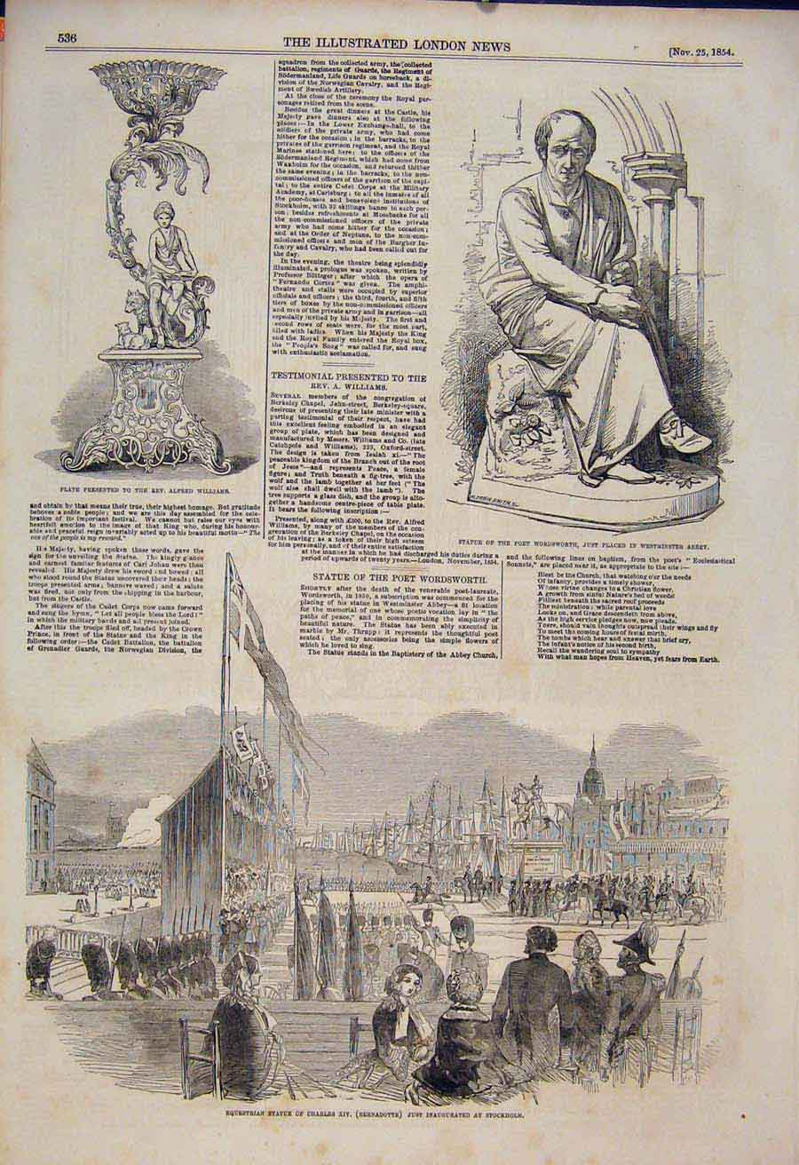 Print Statue Charles Stockholm Wordsworth Westminster 1854 36Maa1 Old Original