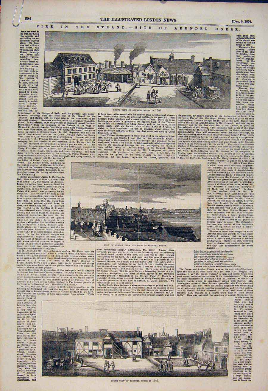 Print Arundel House 1646 London Whittington Wellington 1854 84Amaa1 Old Original