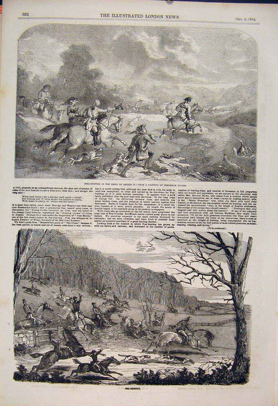 Print Stag Hunting Hunt Tayler Fox Hounds Fine Art 1854 92Maa1 Old Original