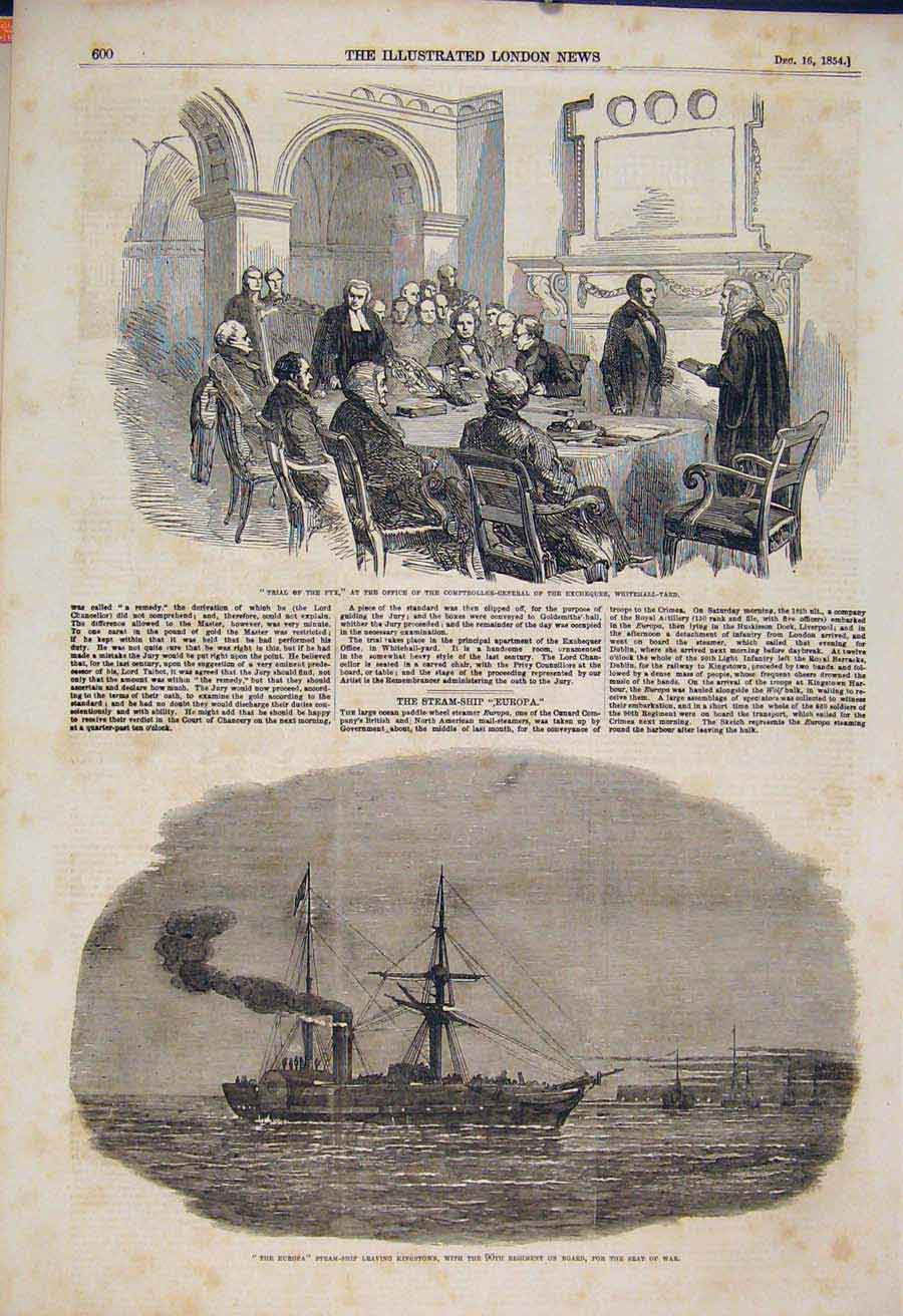 Print Pyx Trial Exchequer Whitehall Europa Kingstown 1854 00Maa1 Old Original