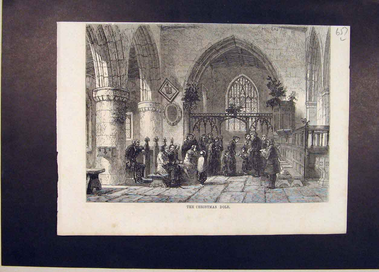 Print Christmas Dole Church People 1854 57Lmaa1 Old Original