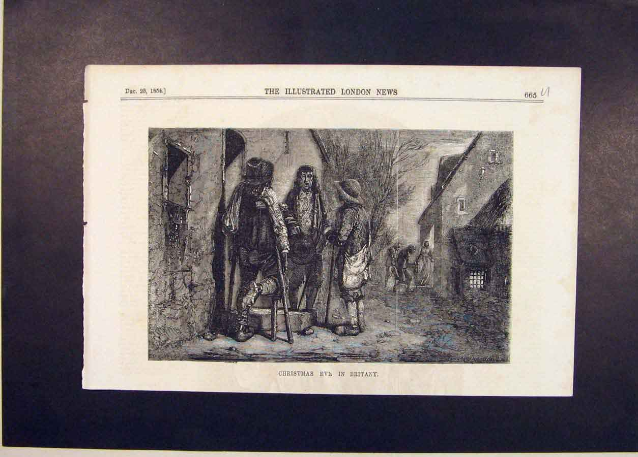 Print Christmas Eve Britany France Brittany 1854 65Umaa1 Old Original