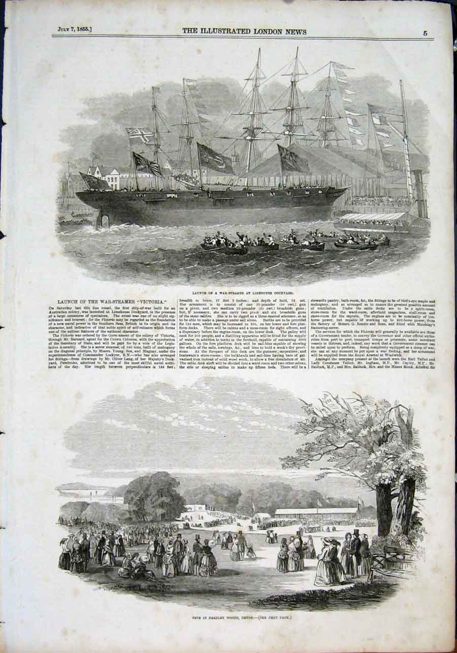 Print War Steamer Limehouse Dockyard Fete Bradley Woods Devon 05Maa1 Old Original