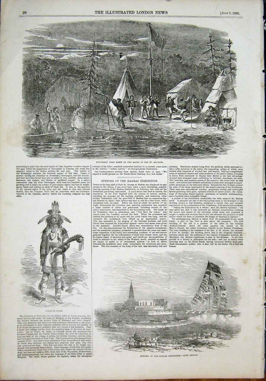 Print St Maurice Engineer Iroquois Chief Madras Exhibition 28Maa1 Old Original