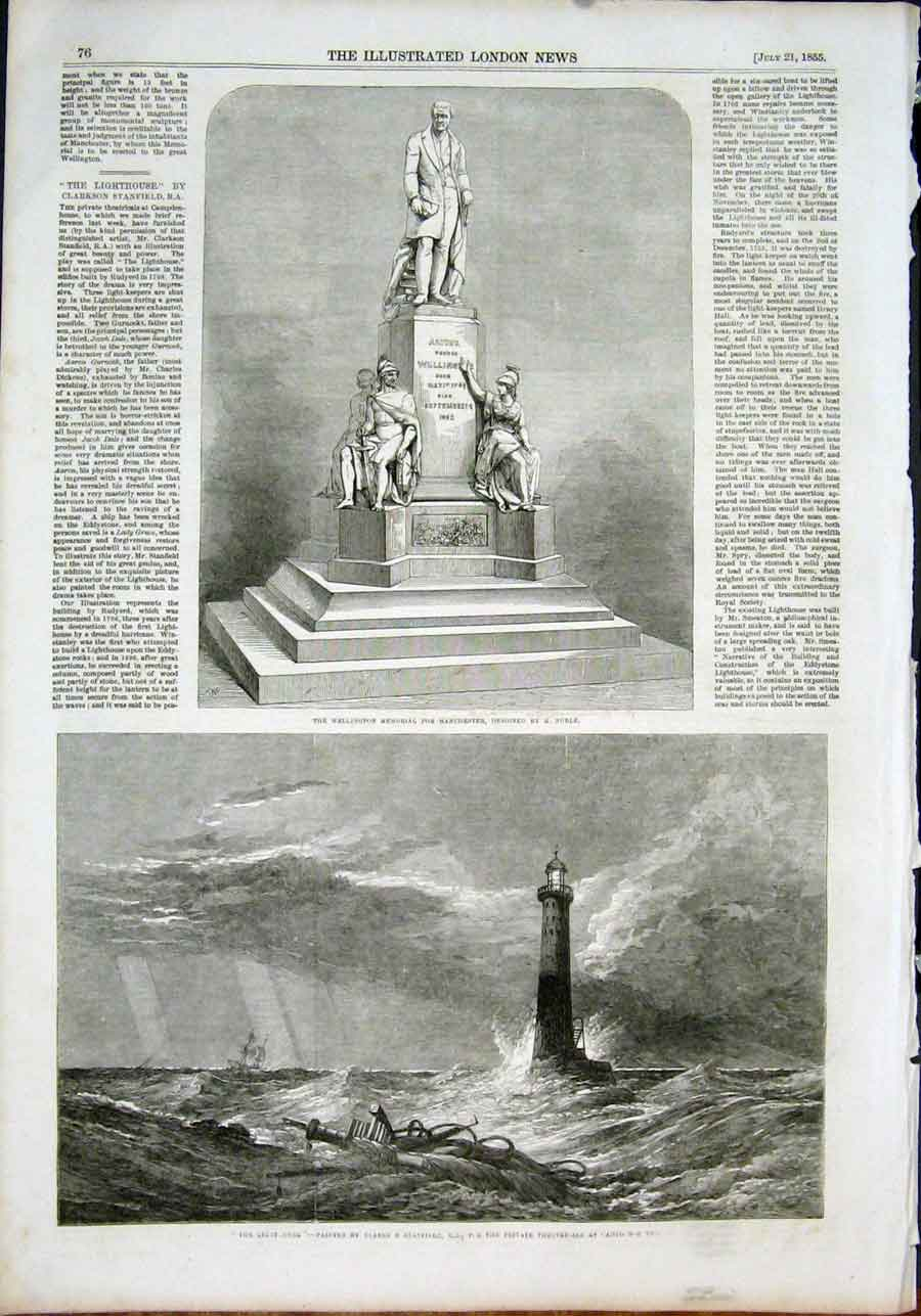 Print Wellington Manchester Noble Lighthouse Stanfield 1855 76Maa1 Old Original