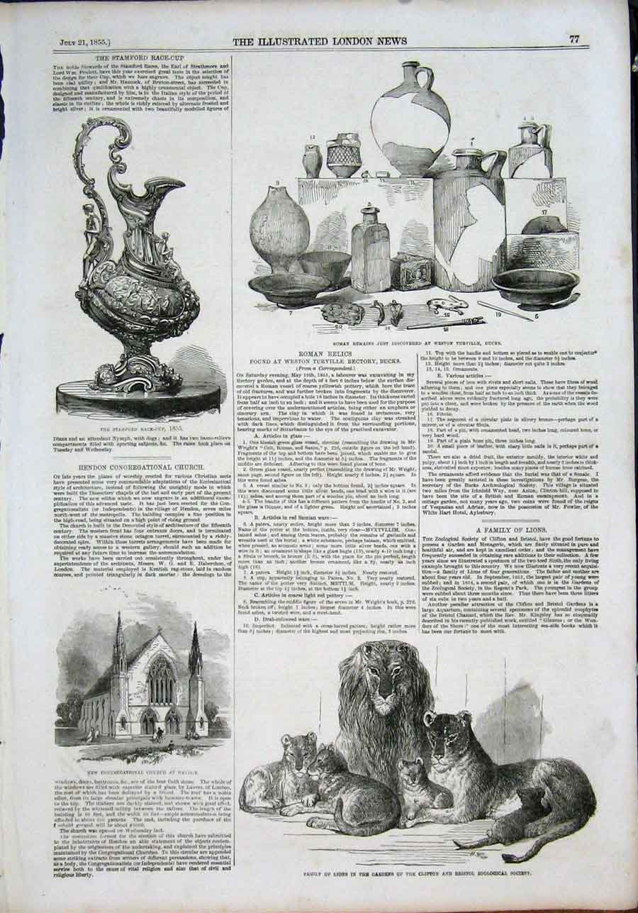 Print Roman Relics Lions Zoo Hendon Church Stamford Race 1855 77Maa1 Old Original