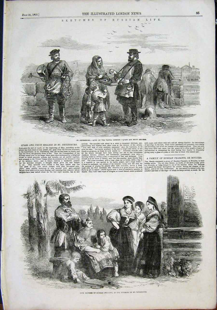 Print Sketches Russian Life Russia St Petersburg Fete 1855 85Maa1 Old Original
