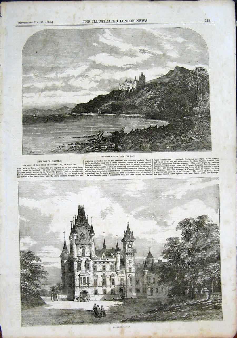 Print Dunrobin Castle Scotland Sutherland Tower 1855 13Maa1 Old Original