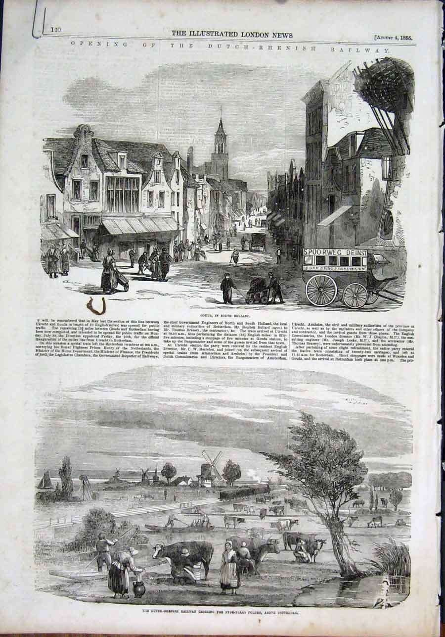Print Gouda Holland Rotterdam Railway Dutch Rhenish 1855 40Amaa1 Old Original