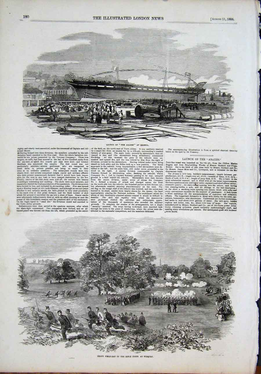 Print Araxes Bristol Rifle Corps Torquay Field Day 1855 80Maa1 Old Original