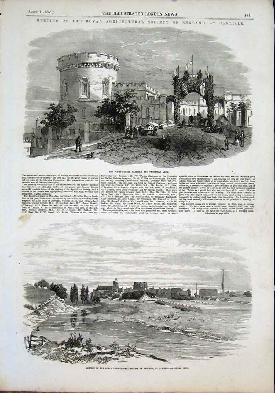 Print Carlilse Agricultural Society Court House Arch 1855 81Maa1 Old Original
