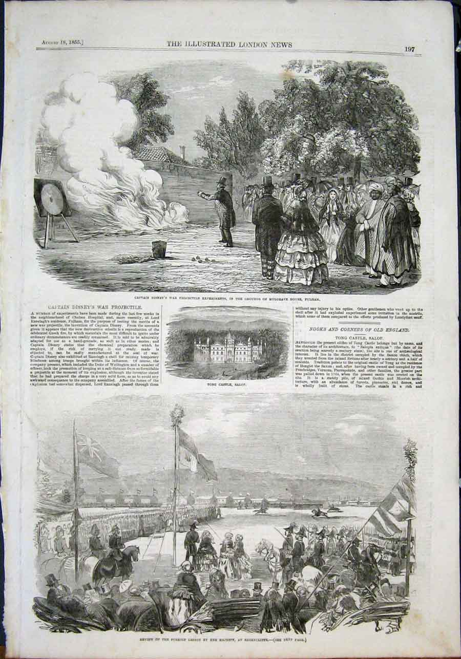 Print Captain Disney Projectile Fulham Shorncliffe 1855 97Maa1 Old Original
