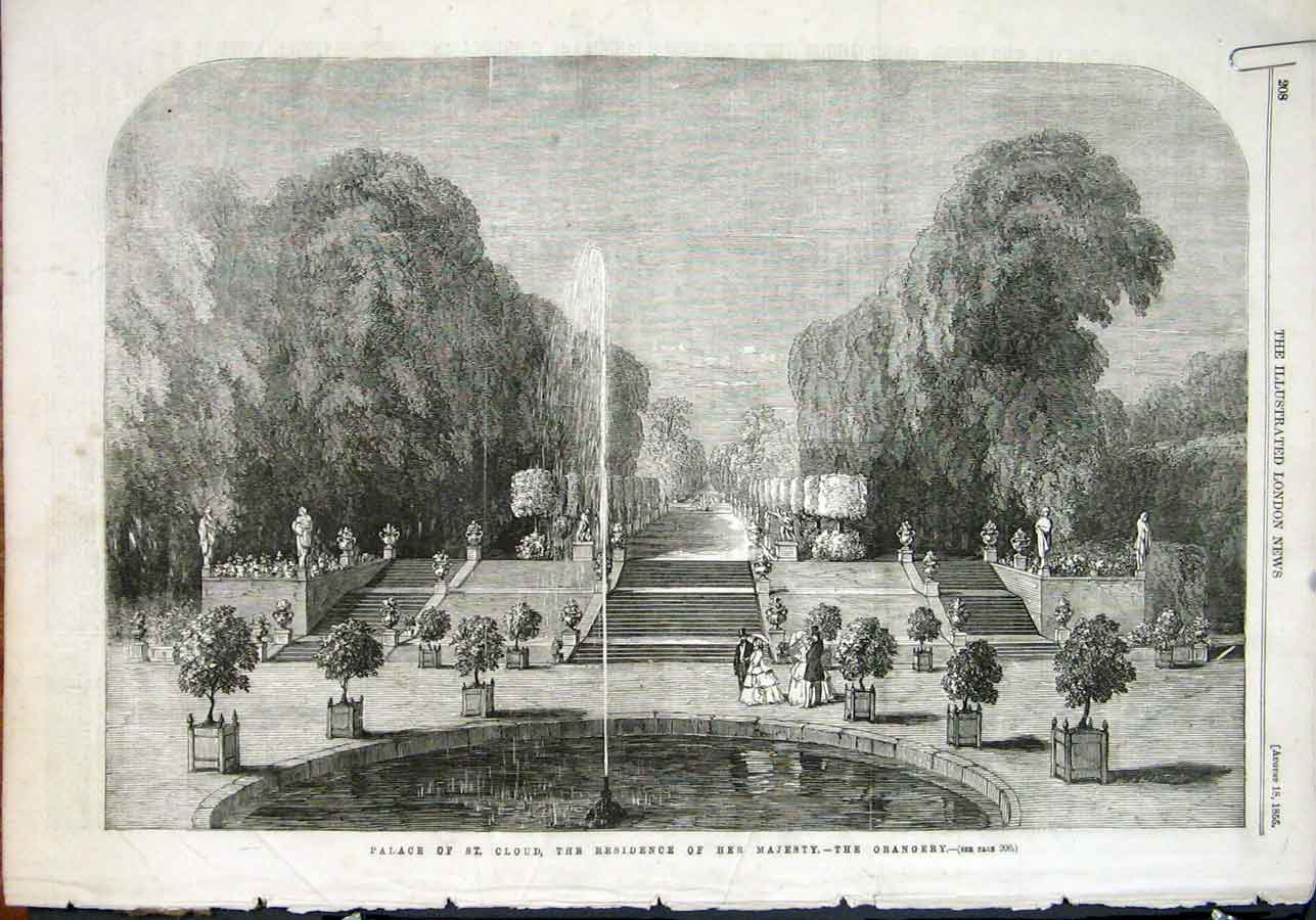 Print Palace St Cloud Orangery Garden Fountain 1855 08Amaa1 Old Original