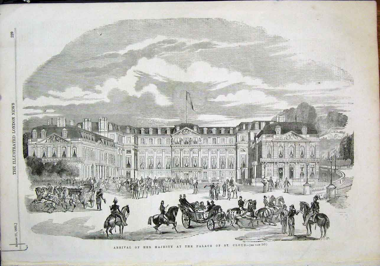 Print Palace St Cloud Paris France Queen Boulongne Station 29Amaa1 Old Original