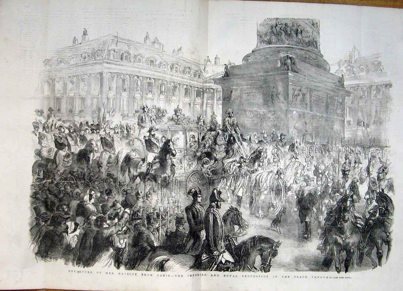 Print Queen Paris Royal Procession Place Vendome France 1855 87Tmaa1 Old Original