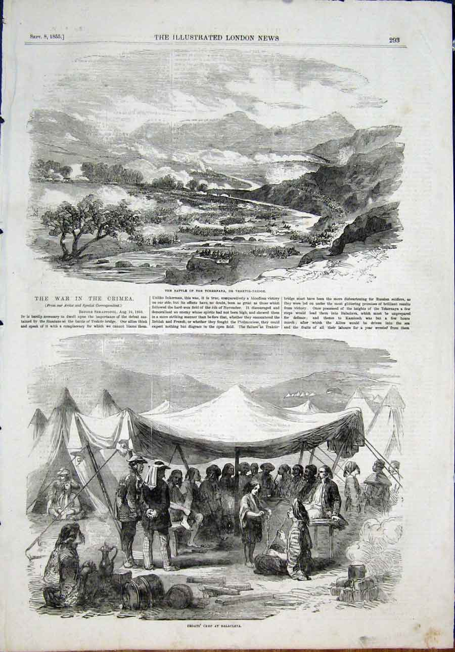 Print Battle Tchernaya Traktir Bridge Croats Balaclava 1855 93Maa1 Old Original
