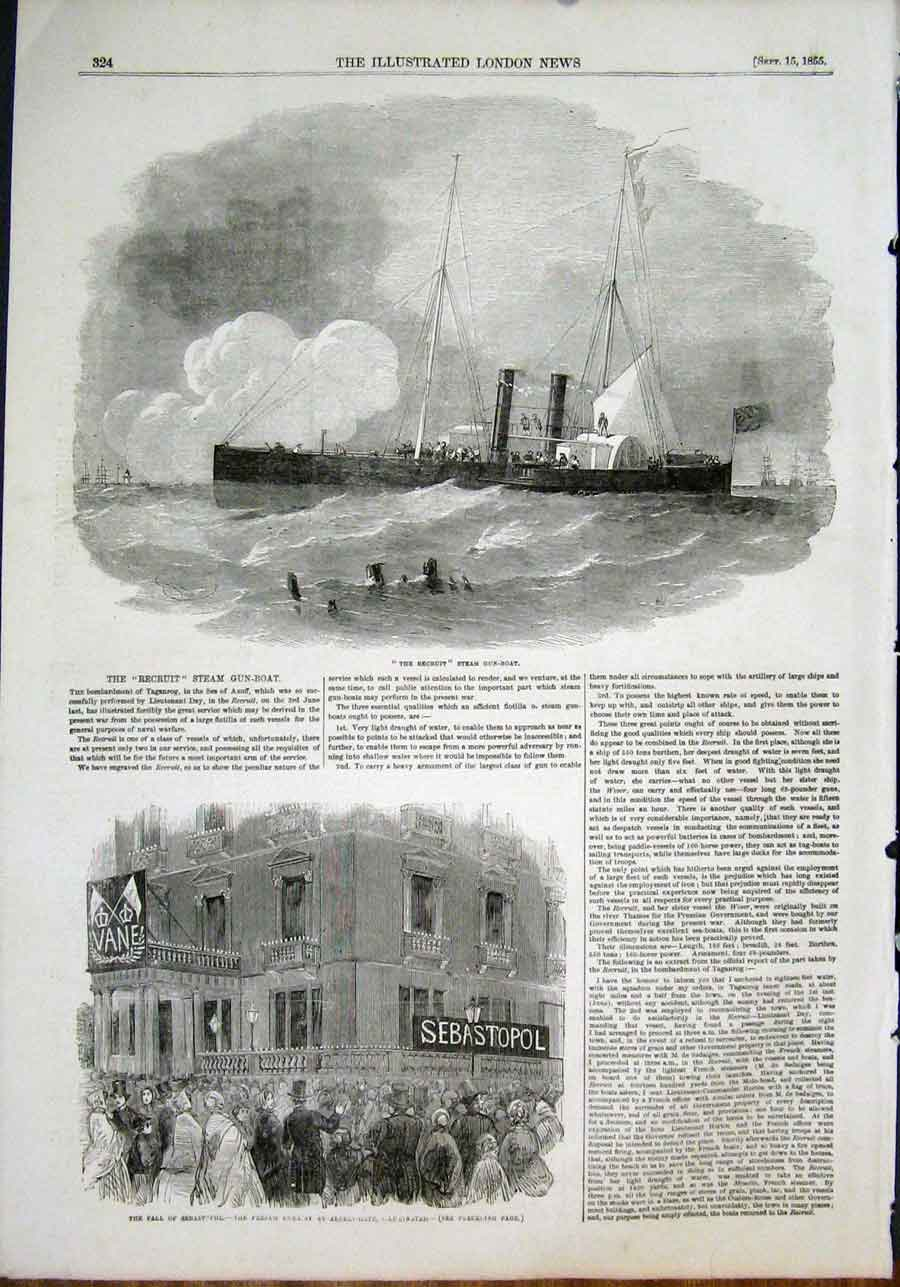 Print The Recruit Steam Gun Boat Sebastopol French 1855 24Maa1 Old Original