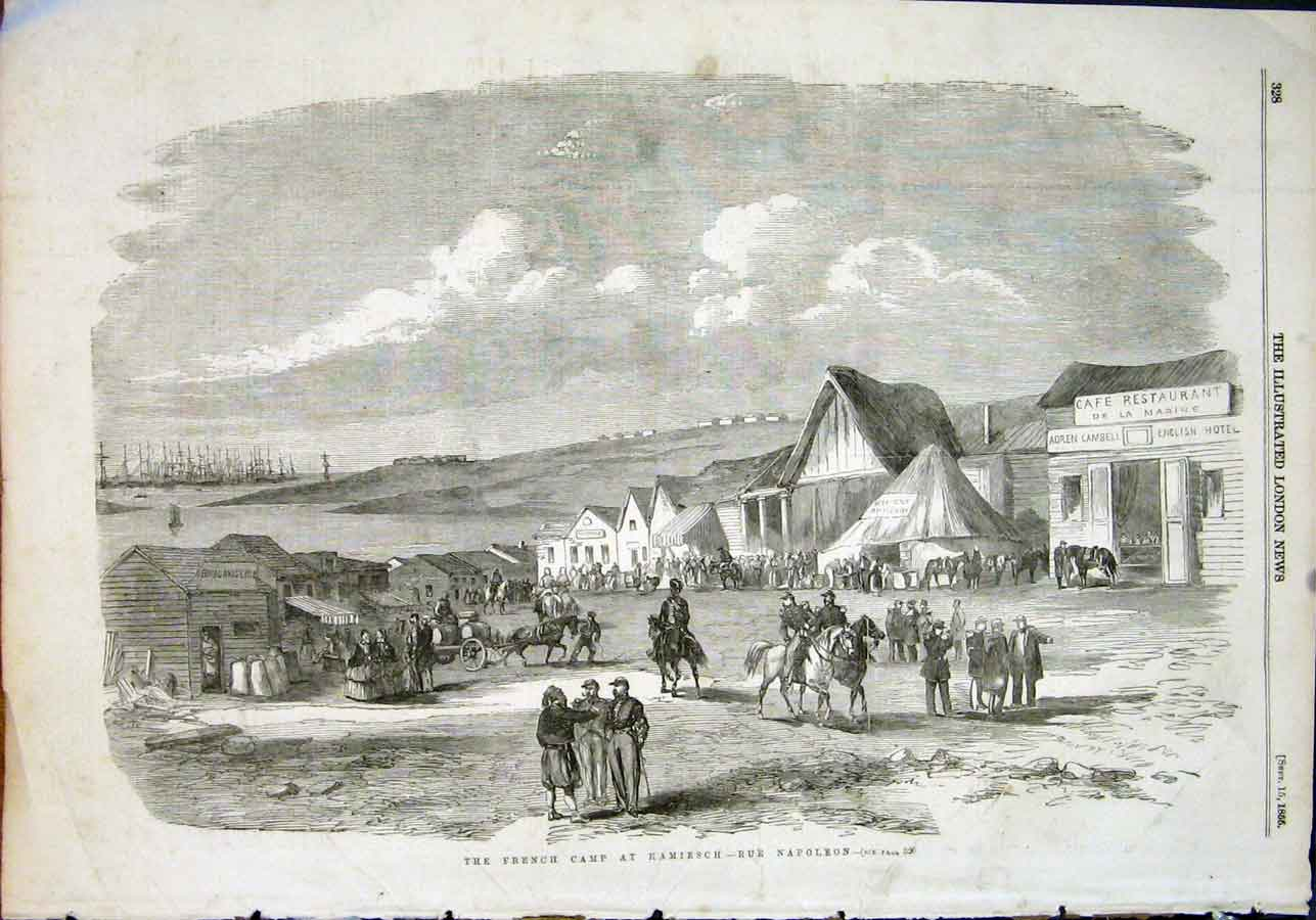 Print French Camp Kamiesch Napoleon Crimean 1855 28Maa1 Old Original