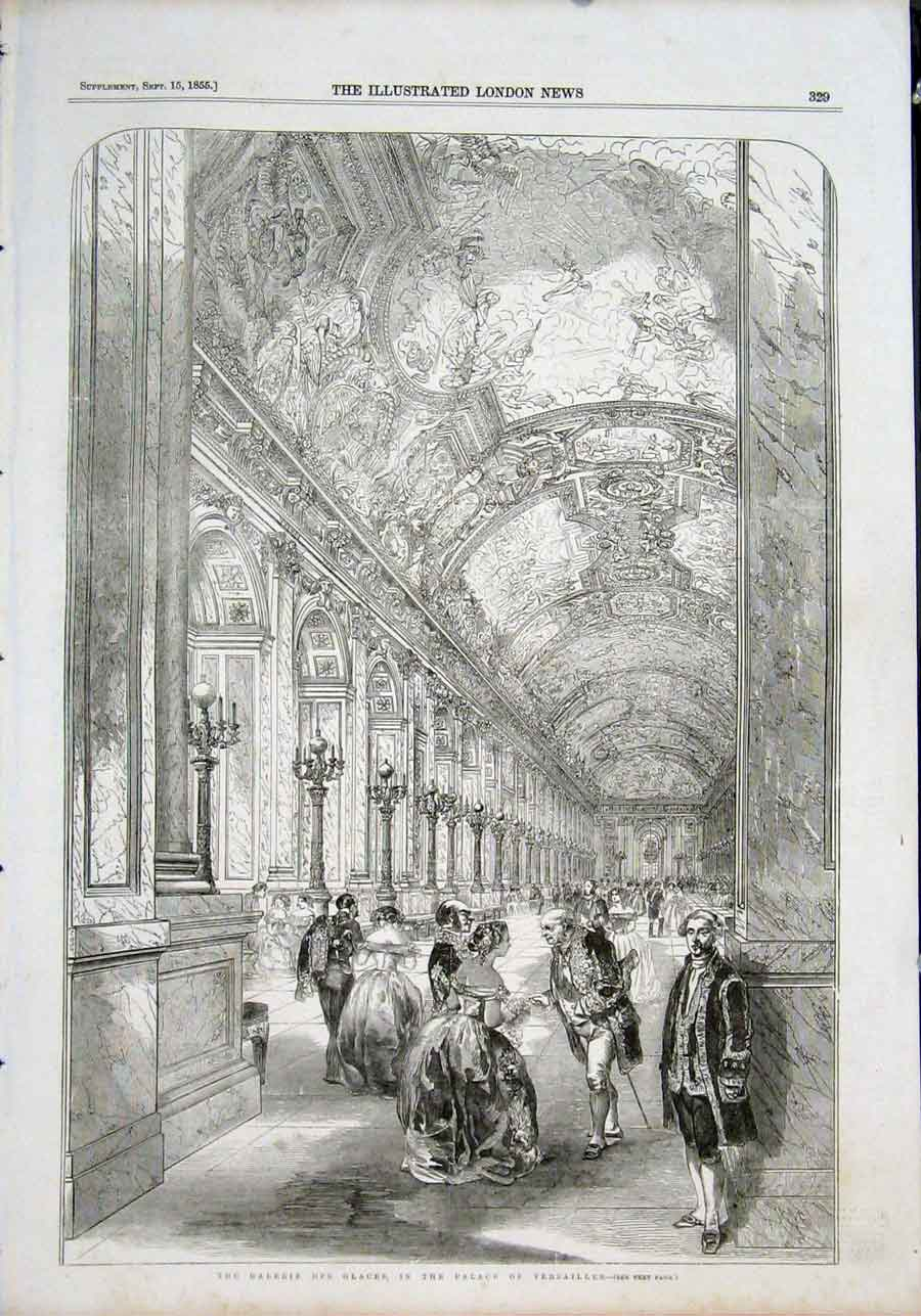 Print Gallery Glass Galerie Galces Palace Versailles Paris 29Maa1 Old Original