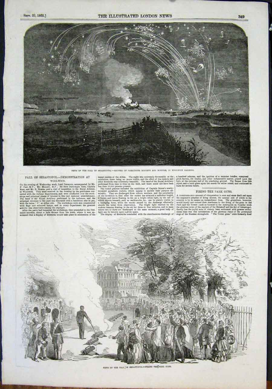 Print Woolwich Marshes Sebastopol Fall Park Guns 1855 49Maa1 Old Original