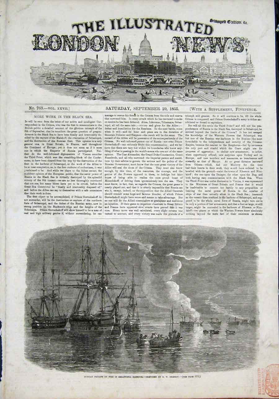 Print Russian Frigate Fire Sebastopol Harbour Brierly Sketch 70Maa1 Old Original