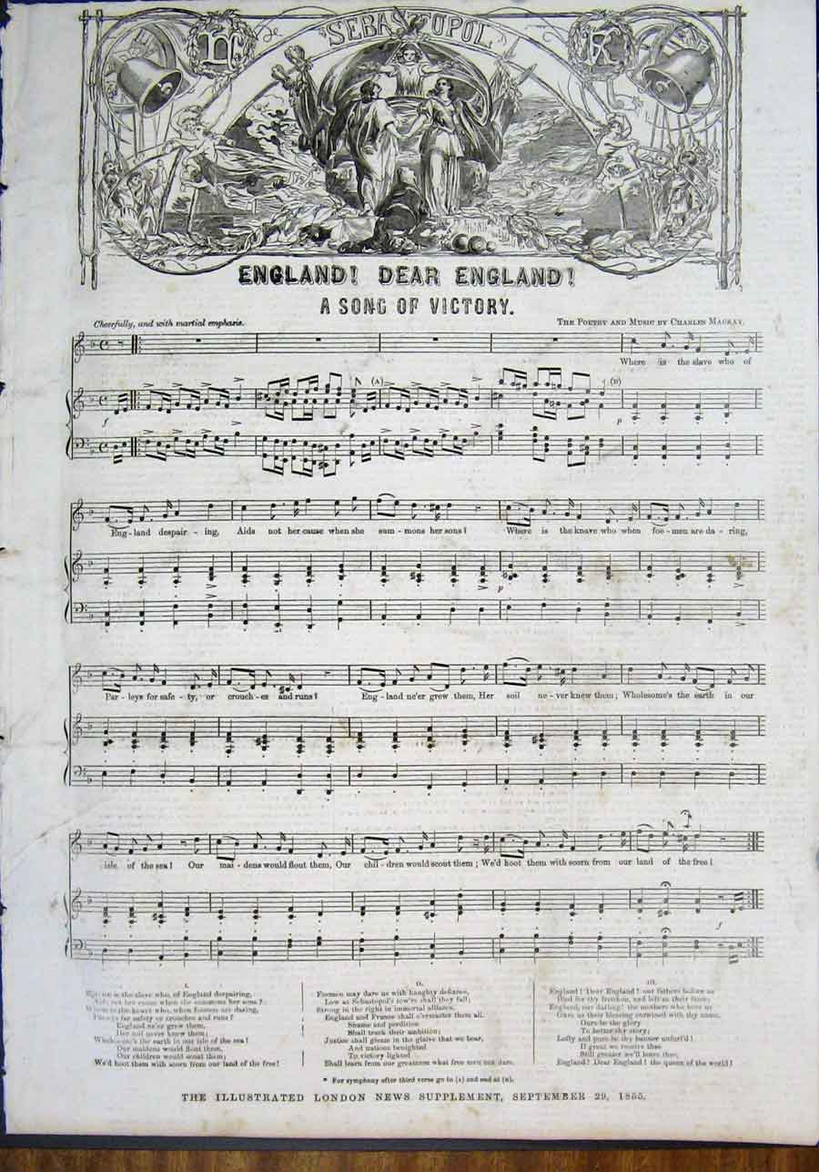 Print England Song Music Score Sheet Victory 1855 86Maa1 Old Original