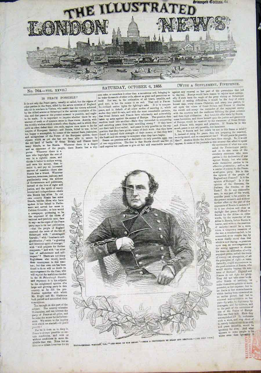 Print Portrait Major-Ggeneral Windham Redan 1855 02Maa1 Old Original