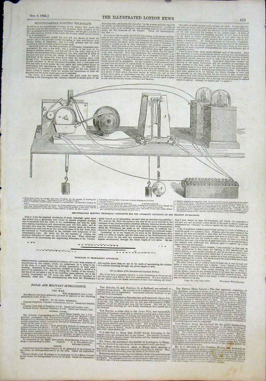 Print Electric Telegraph Apparatus Velocity Experiments 1855 23Maa1 Old Original