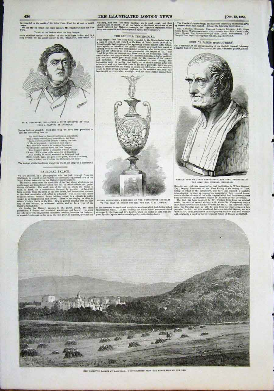 Print Thackeray Montgomery Poet Palace Balmoral Scotland 1855 36Maa1 Old Original