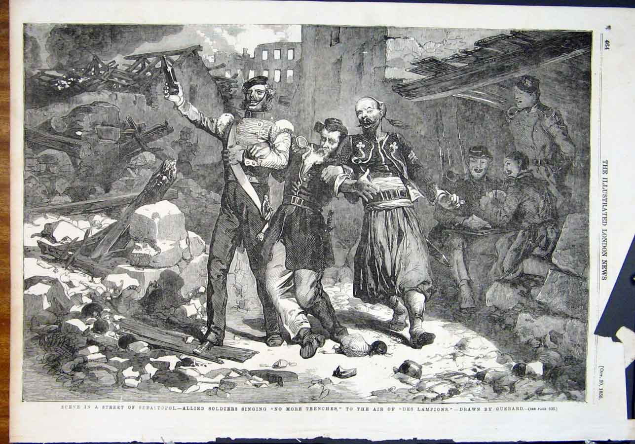Print Allied Soldiers Sebastopol Guerard Trenches 1855 64Maa1 Old Original