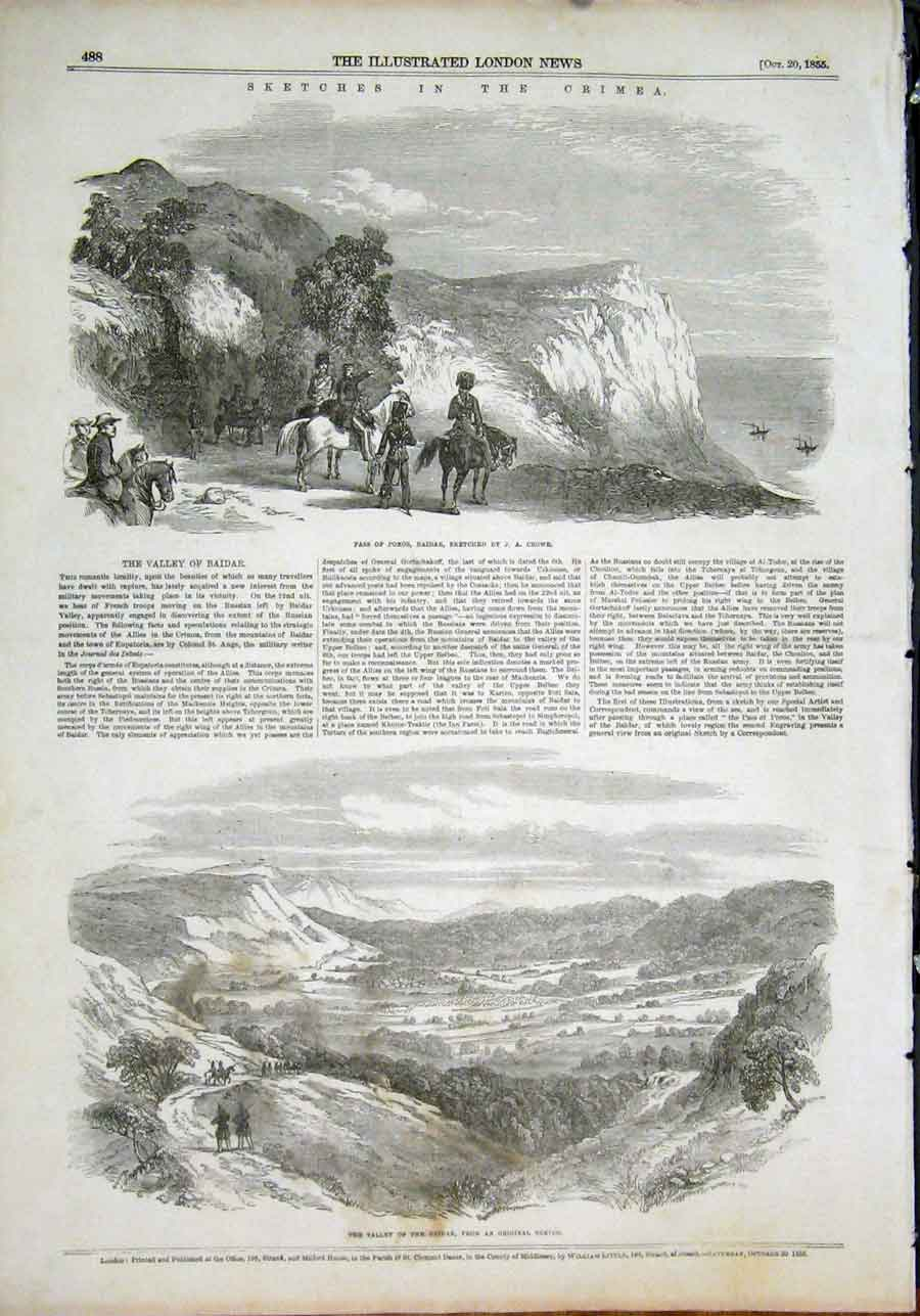 Print Baidar Valley Crowe India View 1855 88Maa1 Old Original