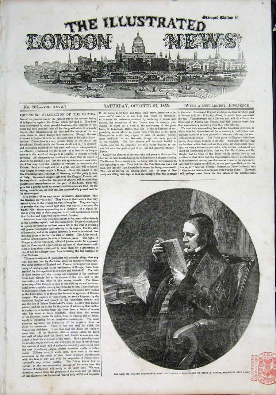 Print Portrait Sir William Molesworth 1855 90Maa1 Old Original