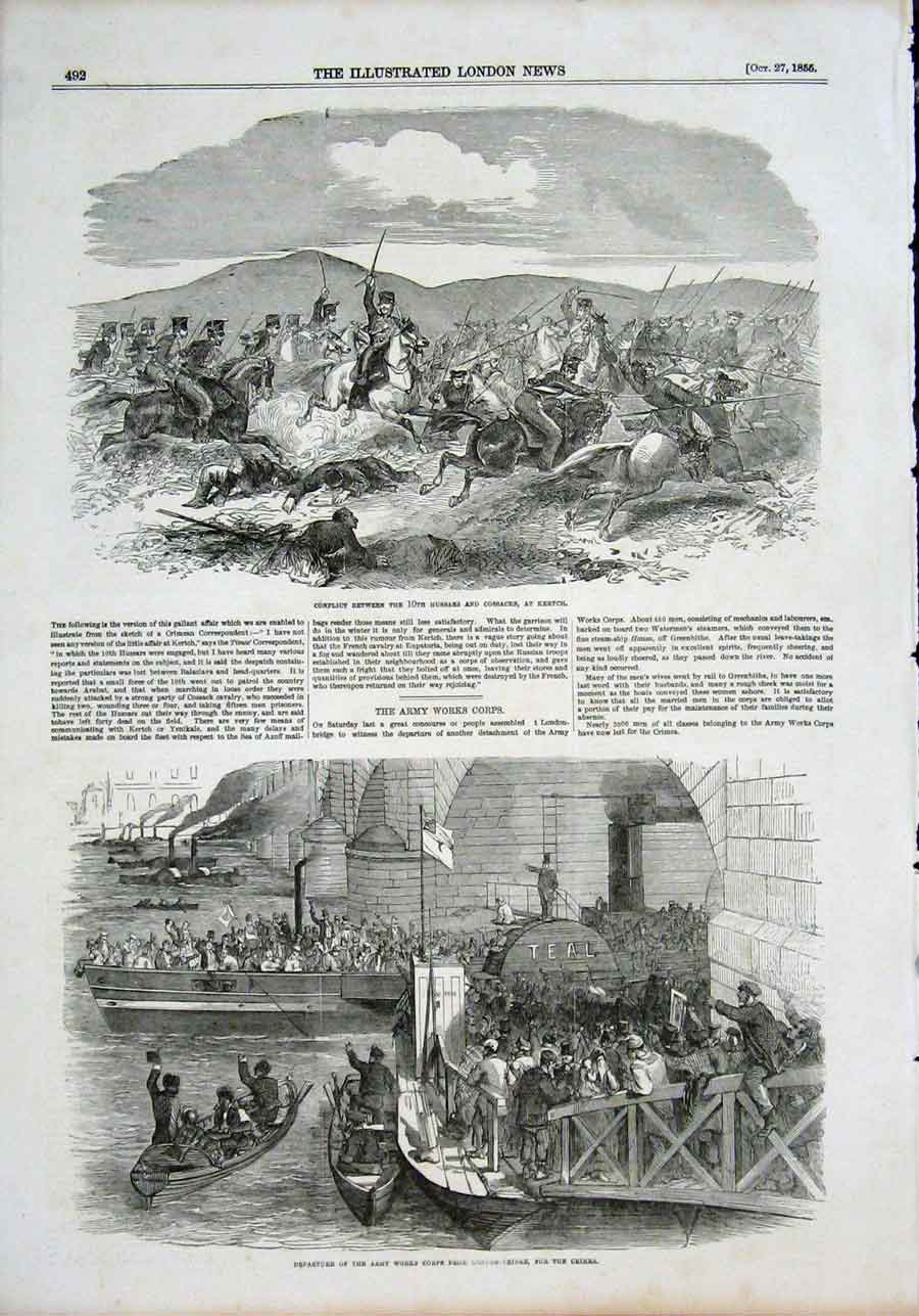 Print Hussars Cossacks Kertch Army Works Corps London Bridge 92Maa1 Old Original