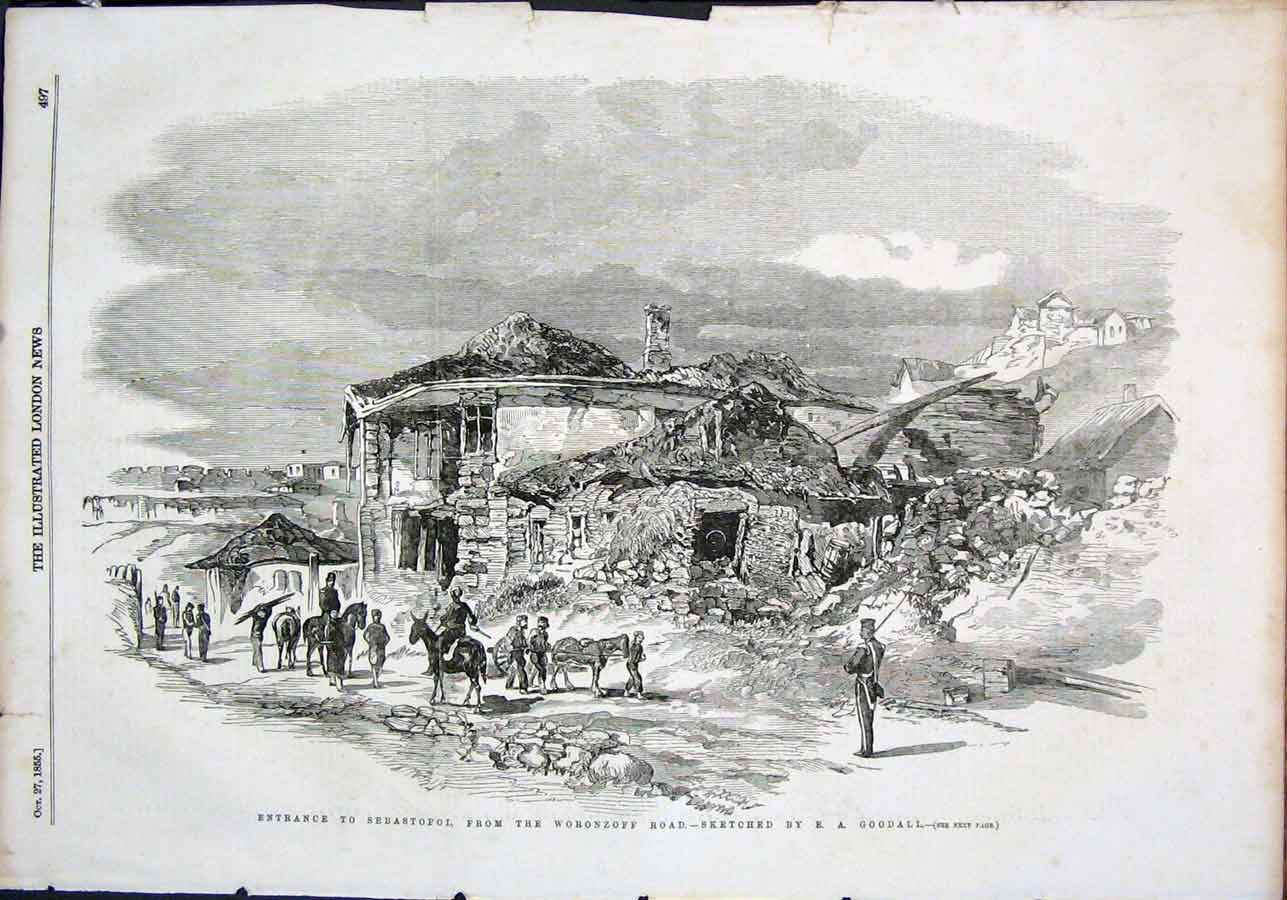 Print Sebastopol Woronzoff Road Sketch Goodall 1855 97Maa1 Old Original