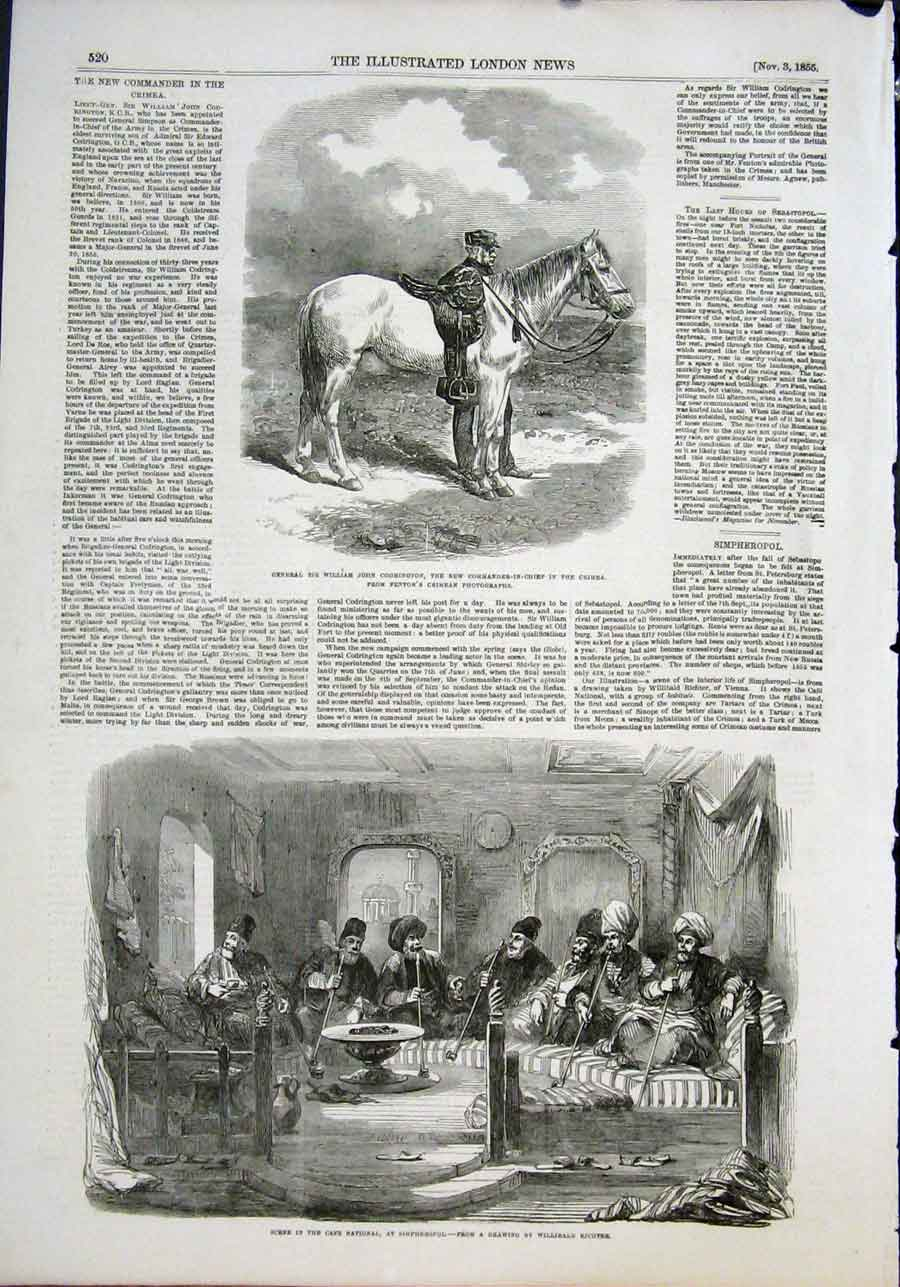 Print General Codrington Crimea Simpheropol Richter 1855 20Maa1 Old Original