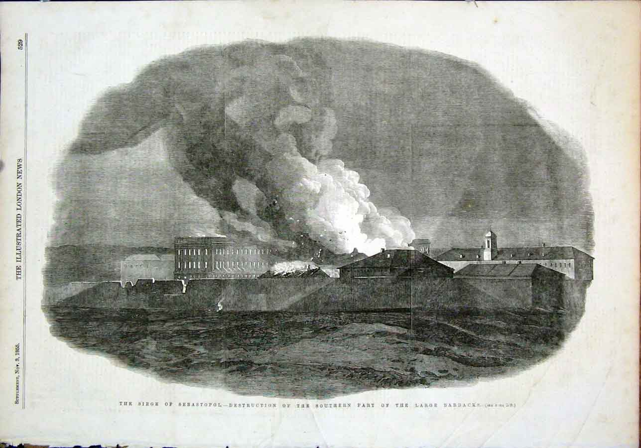 Print Siege Sebastopol Barracks Destruction 1855 29Maa1 Old Original