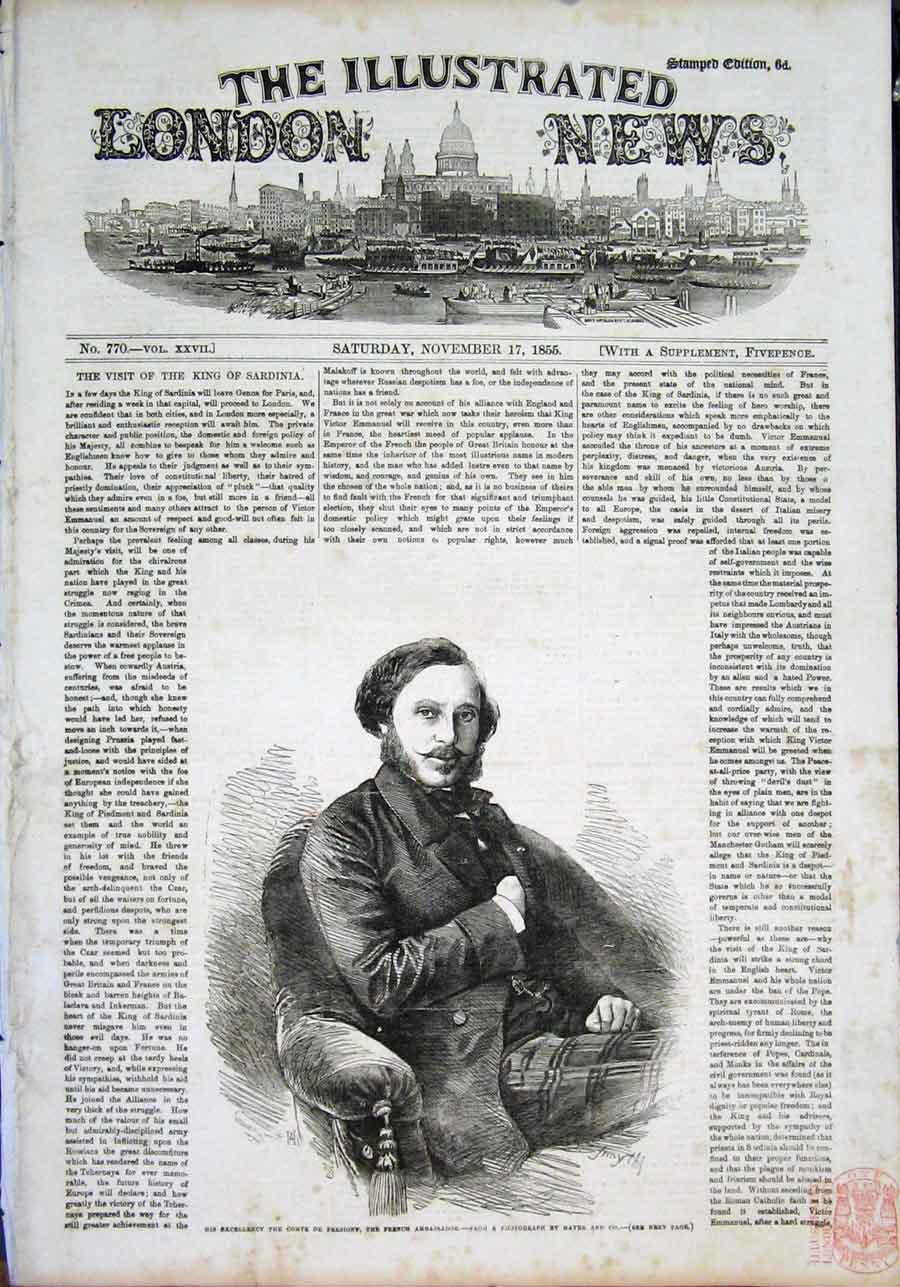 Print Portrait Persinghy French Ambassador 1855 78Maa1 Old Original