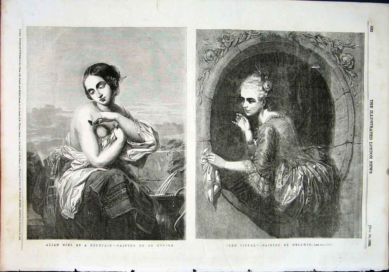 Print Girl Fountain Keyser Signal Lady Hellwig Fine Art 1855 32Maa1 Old Original