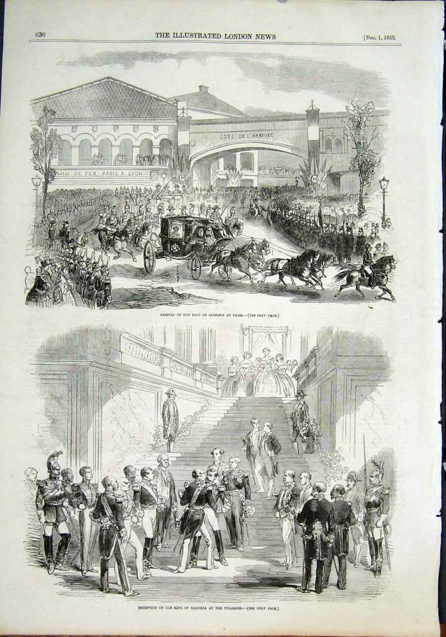 Print Sardinia King Paris Tuilleries Reception 1855 36Maa1 Old Original