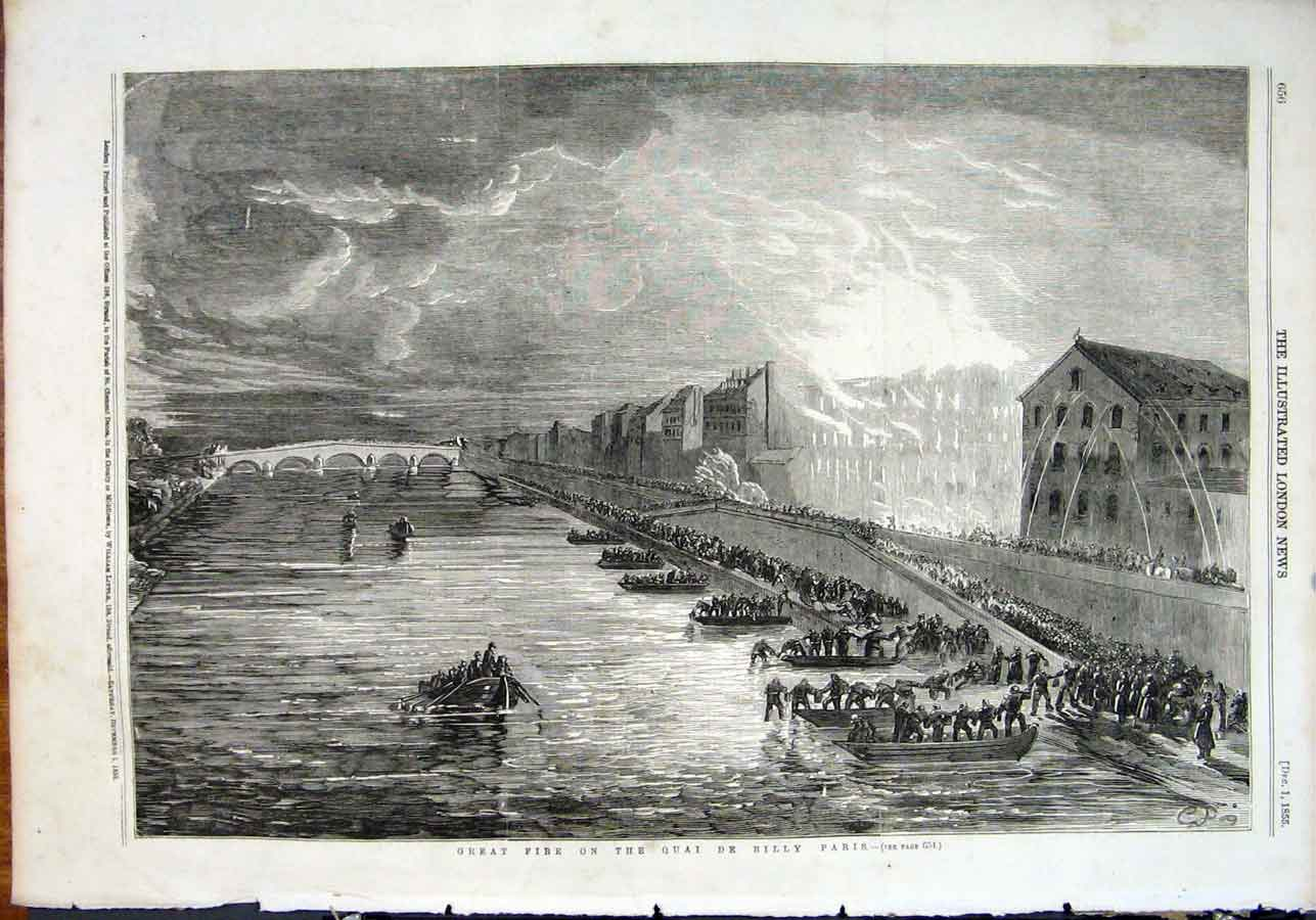 Print Great Fire Quai De Billy Pars France 1855 56Maa1 Old Original