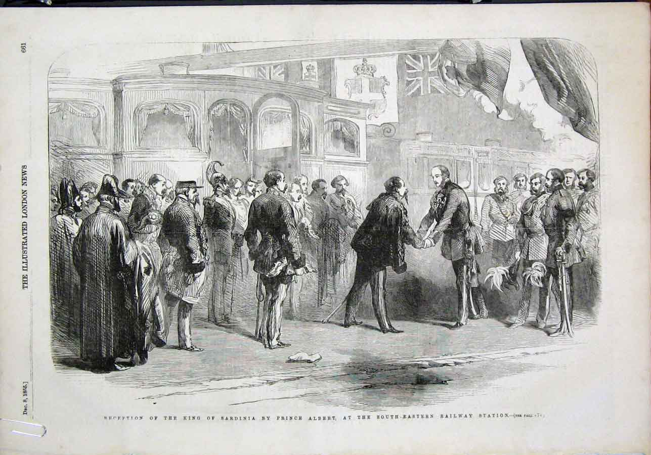 Print King Sardinia Prince Albert Railway Woolwich Arsenal 61Amaa1 Old Original