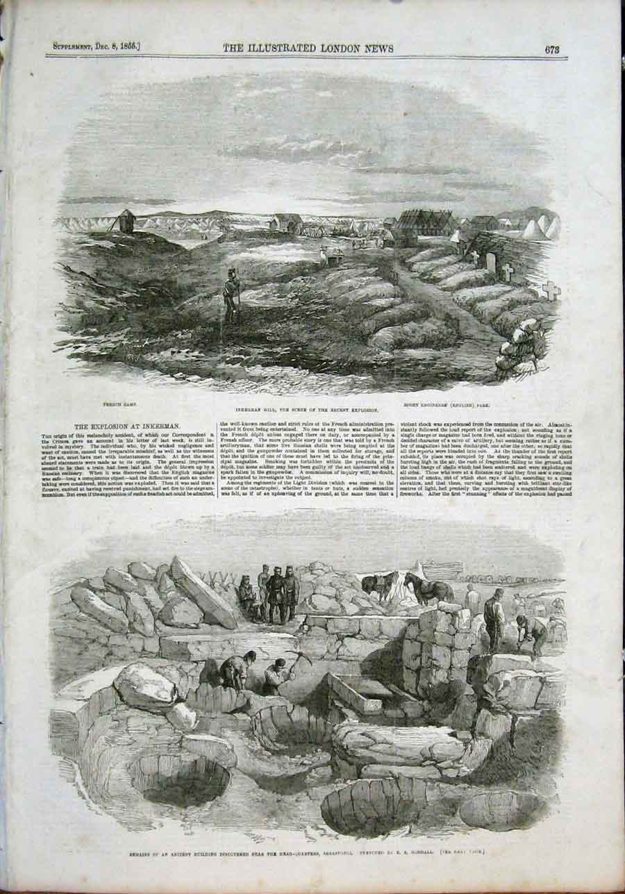Print Inkerman Hill Crimea Ancient Building Sebastopol 1855 73Maa1 Old Original