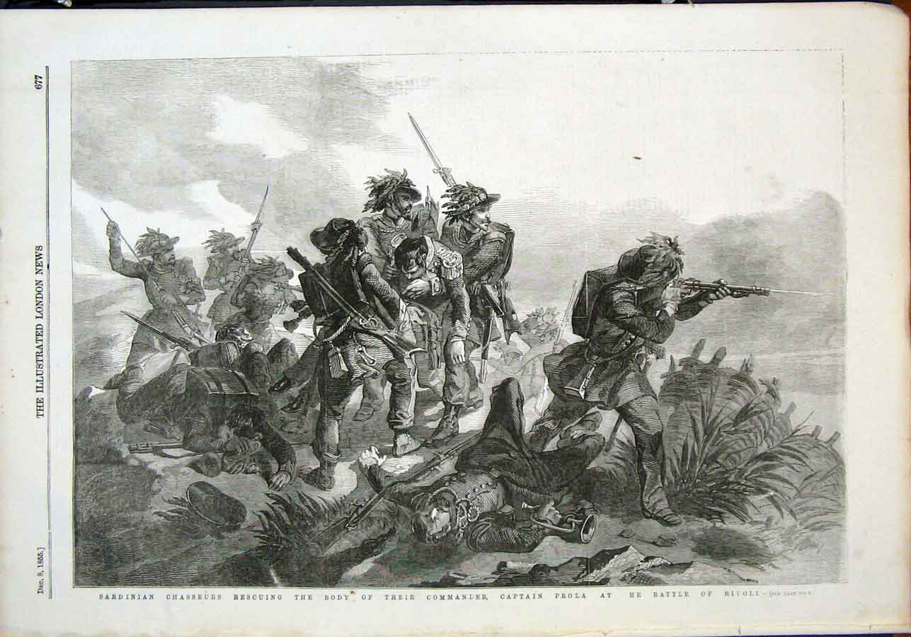 Print Sarinian Chasseurs Captain Prola Battle Rivoli 1855 77Maa1 Old Original