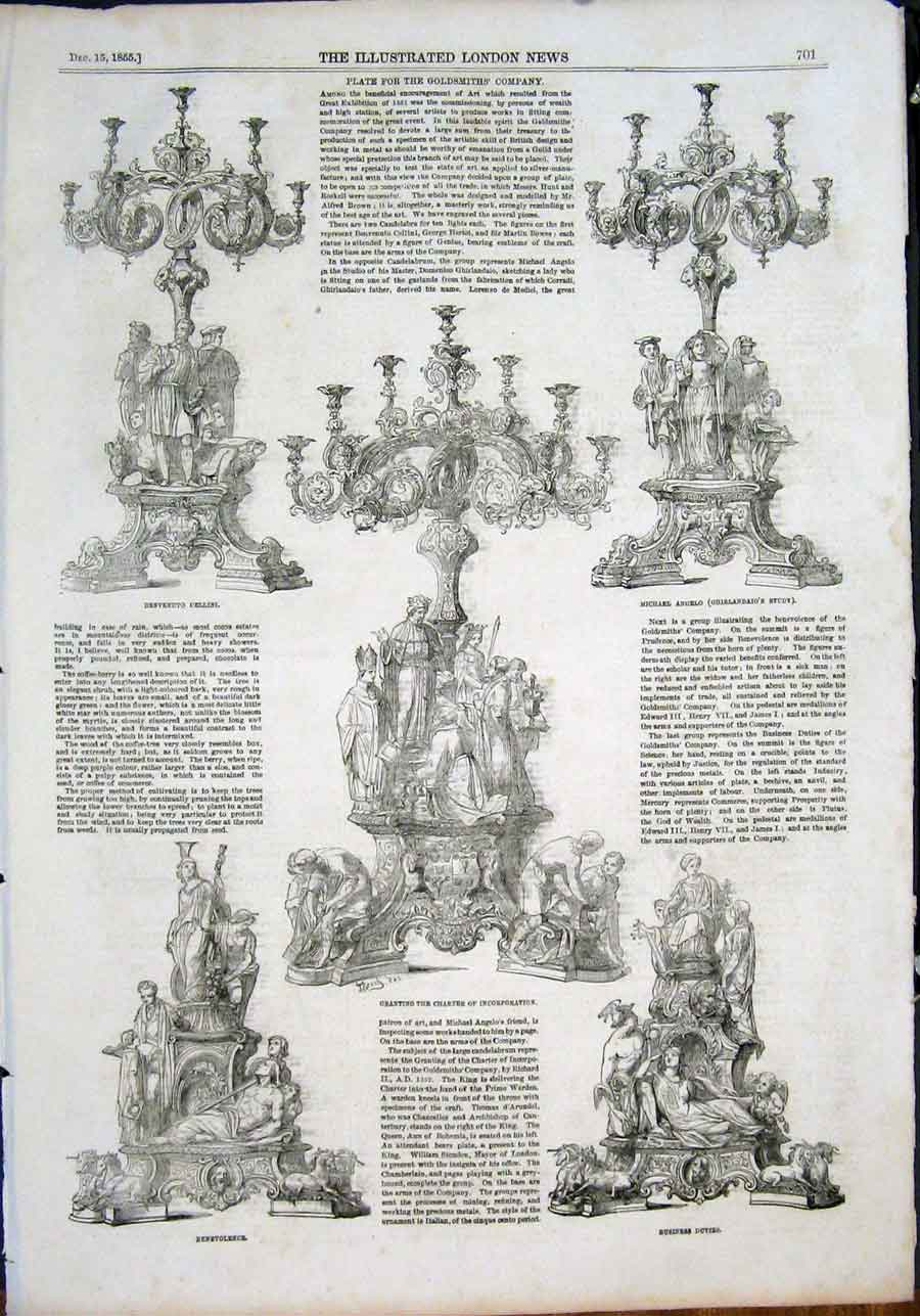 Print Plate Goldsmiths'S Company Cellini Angelo Charter 1855 01Maa1 Old Original