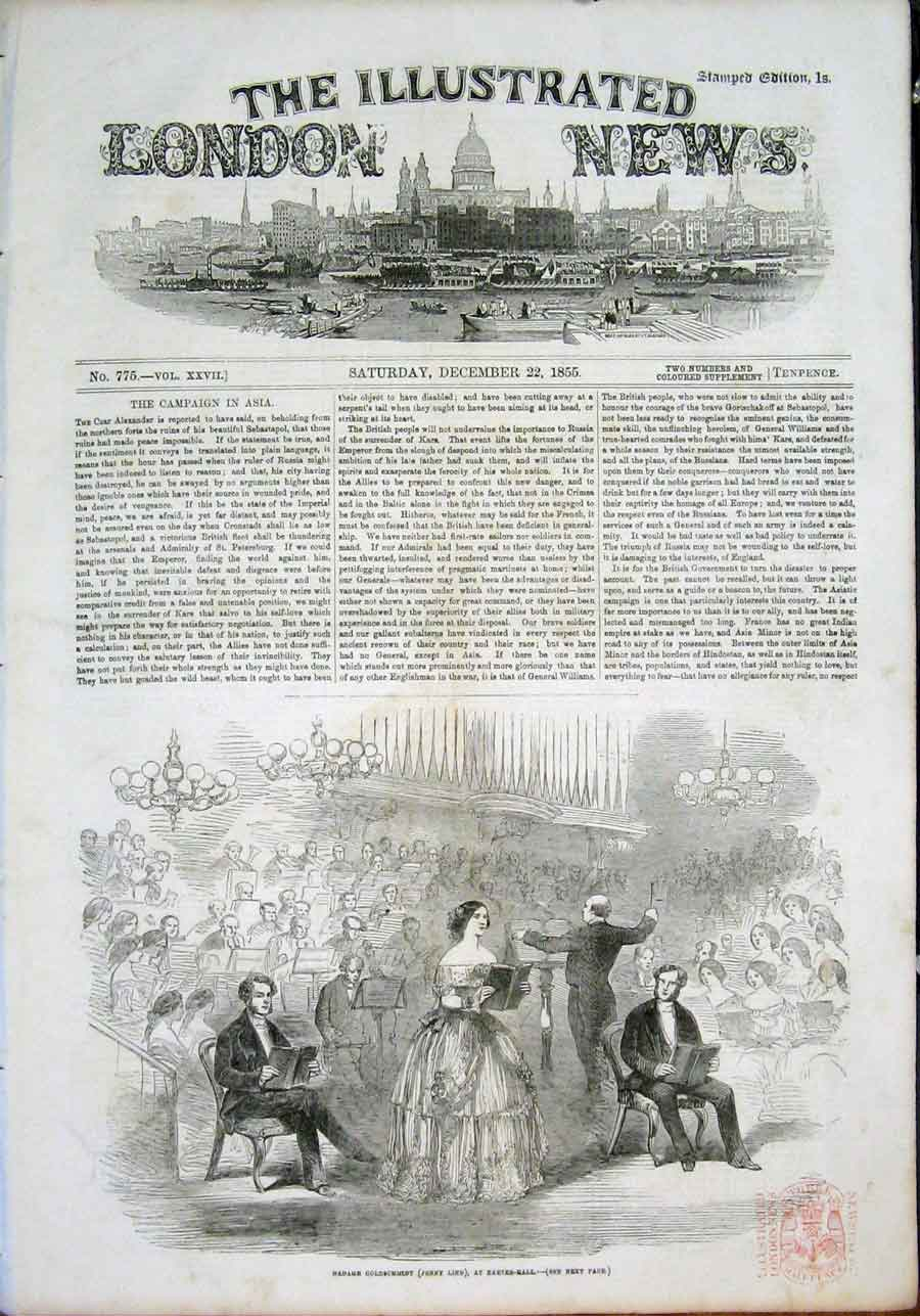 Print Jenny Lindt Exeter Hall Concert London 1855 14Maa1 Old Original