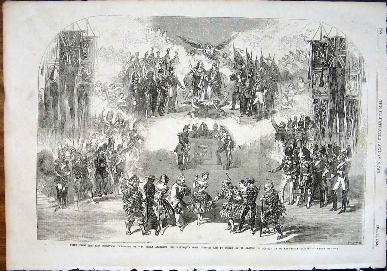 Print Pantomime Christmas Covent Garden Theatre London 1855 56Maa1 Old Original