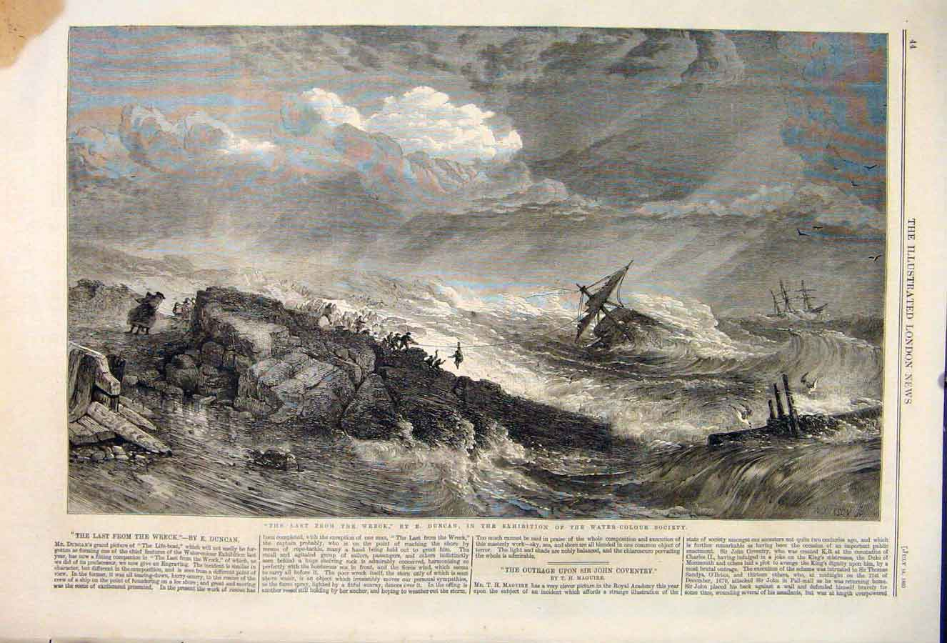 Print Wreck Duncan Sea Ship Storm Survivor Fine Art 1860 44Maa1 Old Original
