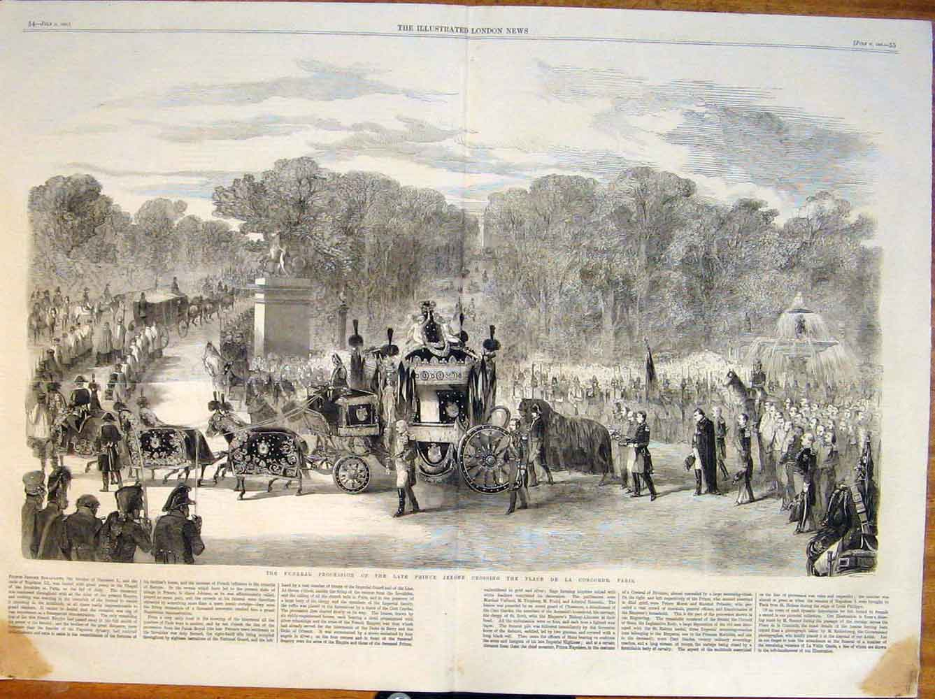 Print Funeral Procession Prince Jerome Paris France 1860 53Tmaa1 Old Original